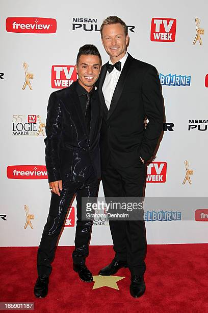 Anthony Callea and Tim Campbell arrive at the 2013 Logie Awards at the Crown on April 7 2013 in Melbourne Australia
