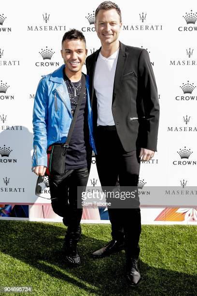 Anthony Callea and Tim Campbell arrives ahead of the 2018 Crown IMG Tennis Player at Crown Palladium on January 14 2018 in Melbourne Australia