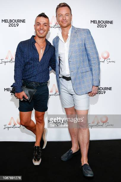 Anthony Callea and Tim Campbell arrives at the AO Inspirational Series Brunch at The Glasshouse on January 24 2019 in Melbourne Australia