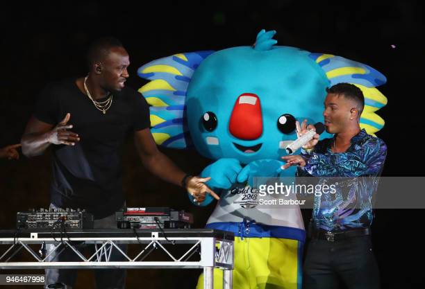 Anthony Callea and Usain Bolt during the Closing Ceremony for the Gold Coast 2018 Commonwealth Games at Carrara Stadium on April 15 2018 on the Gold...