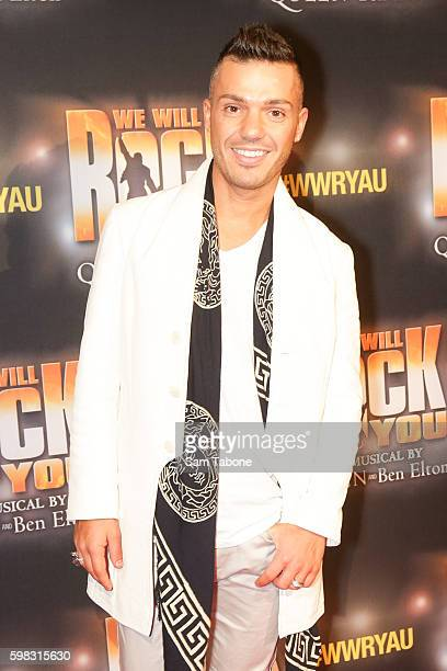 Anthony Callea arrives ahead of the We Will Rock You Melbourne premiere at Regent Theatre on September 1 2016 in Melbourne Australia