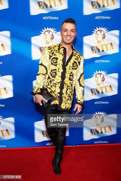 Anthony Callea attends Evita The Musical Opening Night at Melbourne Arts Centre on December 9 2018 in Melbourne Australia