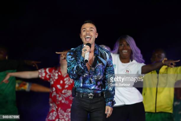 Anthony Callea performs during the Closing Ceremony for the Gold Coast 2018 Commonwealth Games at Carrara Stadium on April 15 2018 on the Gold Coast...