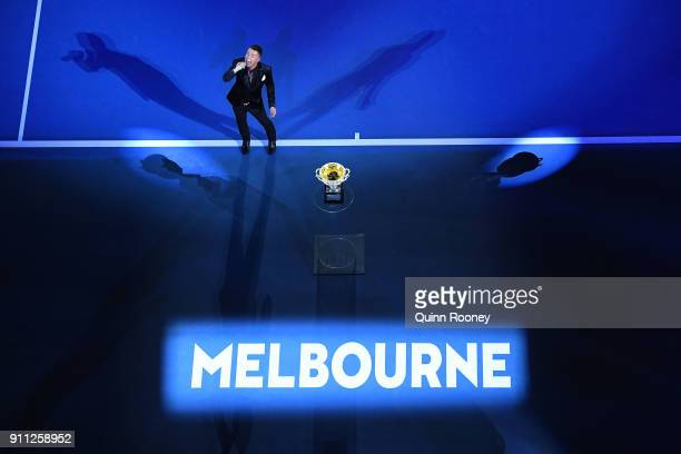 Anthony Callea sings the national anthem ahead of the men's singles final on day 14 of the 2018 Australian Open at Melbourne Park on January 28 2018...