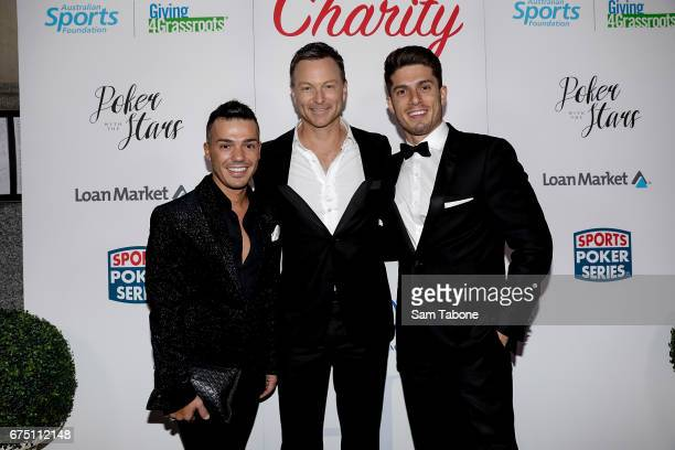 Anthony Callea Tim Campbell and Josh Pitterman arrive at the Invitiational Poker Event by The Hachem Group at The Trust on April 30 2017 in Melbourne...