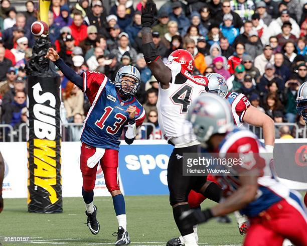 Anthony Calvillo of the Montreal Alouettes throws the ball during the CFL game against the Calgary Stampeders at Percival Molson Stadium on October...