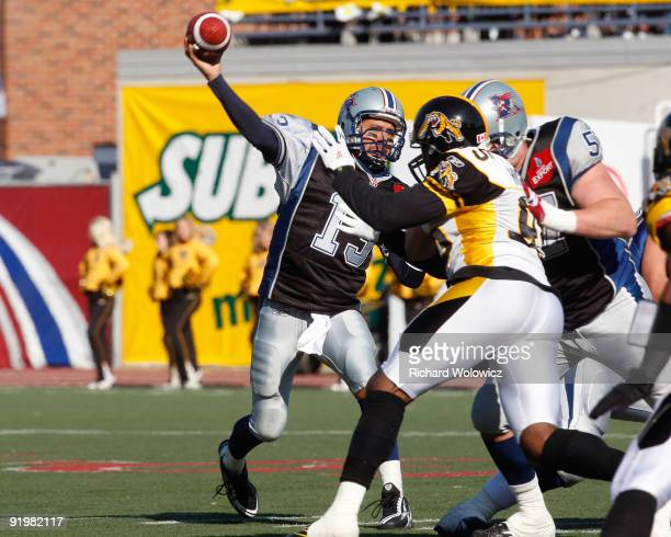 Anthony Calvillo of the Montreal Alouettes throws the ball during the CFL game against the Hamilton Tigre-Cats at Percival Molson Stadium on October...