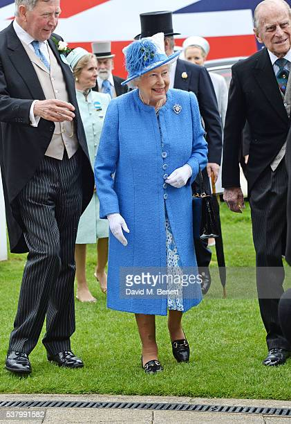 Anthony Cane, HRH Queen Elizabeth II and Prince Philip, Duke of Edinburgh, attend Derby Day during the Investec Derby Festival, celebrating The...