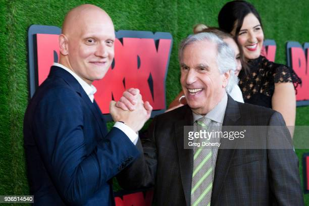 Anthony Carrigan and Henry Winkler attend the Los Angeles premiere of HBO's 'Barry' at NeueHouse Los Angeles on March 21 2018 in Hollywood California