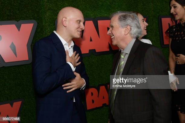 Anthony Carrigan and Henry Winkler attend the premiere of HBO's 'Barry' at NeueHouse Hollywood on March 21 2018 in Los Angeles California