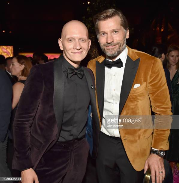 Anthony Carrigan and Nikolaj CosterWaldau attend HBO's Official 2018 Emmy After Party on September 17 2018 in Los Angeles California