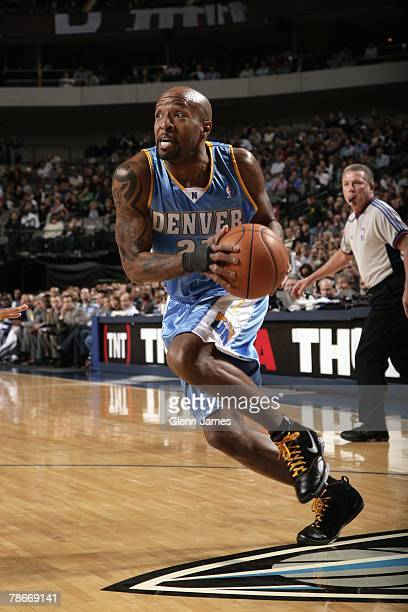 Anthony Carter of the Denver Nuggets drives to the basket during the game against the Dallas Mavericks at American Airlines Center on December 6 2007...