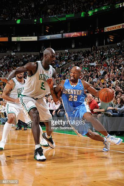 Anthony Carter of the Denver Nuggets drives to the basket past Kevin Garnett of the Boston Celtics during the game on November 14 2008 at TD...