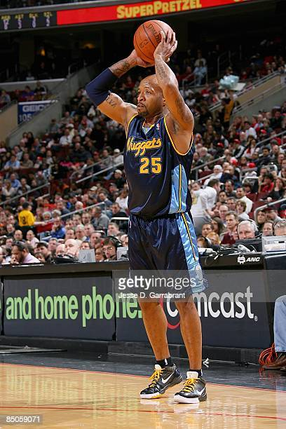 Anthony Carter of the Denver Nuggets looks to pass the ball during the game against the Philadelphia 76ers on February 18 2009 at Wachovia Center in...