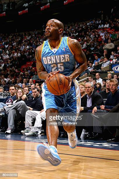 Anthony Carter of the Denver Nuggets looks to the basket during the game against the New Jersey Nets on March 21 2008 at the Izod Center in East...