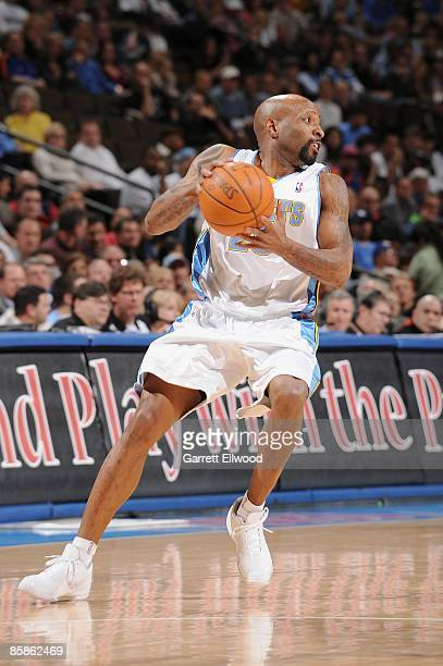Anthony Carter of the Denver Nuggets moves the ball to the basket during the game against the New York Knicks on March 31 2009 at the Pepsi Center in...