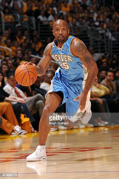 Anthony Carter of the Denver Nuggets moves the ball up court against the Los Angeles Lakers in Game One of the Western Conference Finals during 2009...