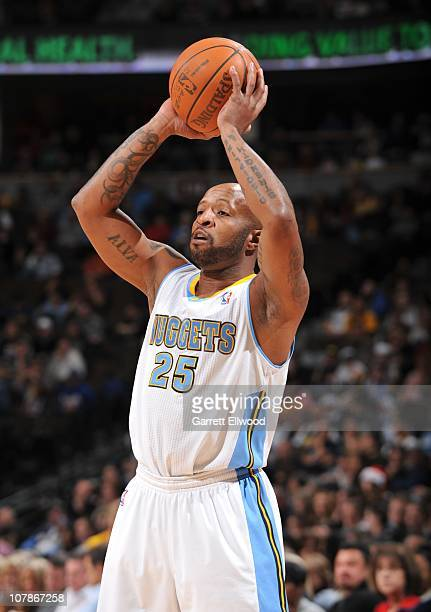 Anthony Carter of the Denver Nuggets shoots a jump shot during a game against the Minnesota Timberwolves on December 18 2010 at the Pepsi Center in...