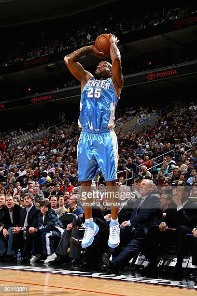 Anthony Carter of the Denver Nuggets shoots during the game against the Philadelphia 76ers on March 19 2008 at Wachovia Center in Philadelphia...