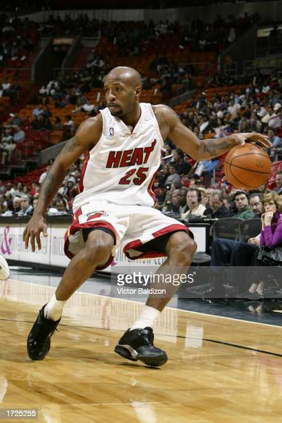 Anthony Carter of the Miami Heat drives toward the baseline during the game against the New Jersey Nets at American Airlines Arena on January 3 2003...