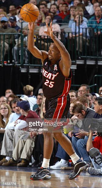 Anthony Carter of the Miami Heat passes against the Dallas Mavericks at the American Airlines Center in Dallas Texas DIGITAL IMAGE NOTE TO USER User...
