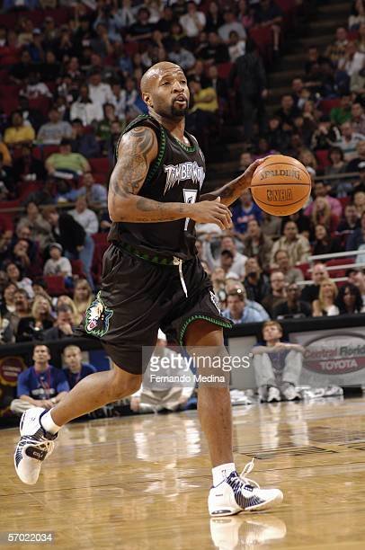 Anthony Carter of the Minnesota Timberwolves dribbles against the Orlando Magic on December 30 2005 at TD Waterhouse Centre in Orlando Florida NOTE...