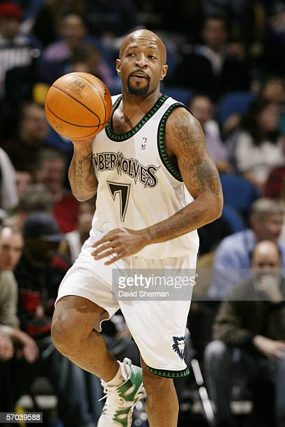 Anthony Carter of the Minnesota Timberwolves dribbles against the Toronto Raptors during the game at Target Center on February 13 2006 in Minneapolis...
