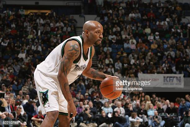 Anthony Carter of the Minnesota Timberwolves dribbles the ball against the Sacramento Kings on January 30 2005 at the Target Center in Minneapolis...