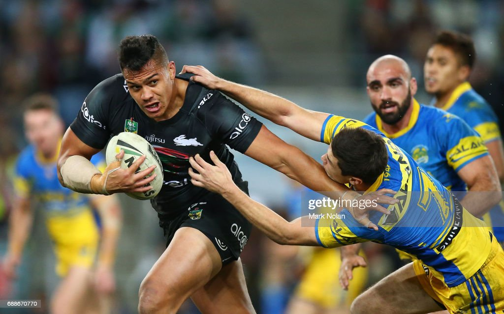 Anthony Cherrington of the Rabbitohs makes a line bresak during the round 12 NRL match between the South Sydney Rabbitohs and the Parramatta Eels at ANZ Stadium on May 26, 2017 in Sydney, Australia.
