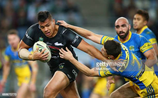 Anthony Cherrington of the Rabbitohs makes a line bresak during the round 12 NRL match between the South Sydney Rabbitohs and the Parramatta Eels at...