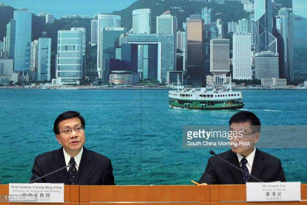 Anthony Cheung Bingleung secretary for Transport and housing and Francis Liu Honpor director of Marine attend a press conference about a report of...