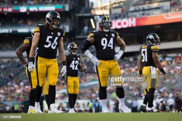 Anthony Chickillo Morgan Burnett Tyson Alualu and Jon Bostic of the Pittsburgh Steelers look on during the preseason game against the Philadelphia...