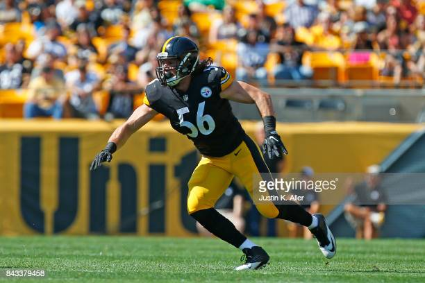 Anthony Chickillo of the Pittsburgh Steelers in action during a preseason game against the Atlanta Falcons at Heinz Field on August 20 2017 in...