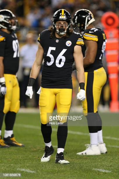 Anthony Chickillo of the Pittsburgh Steelers looks on during the game against the Los Angeles Chargers at Heinz Field on December 2 2018 in...
