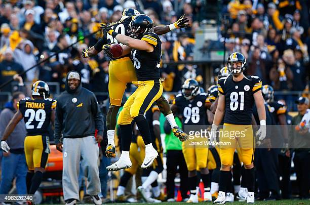 Anthony Chickillo of the Pittsburgh Steelers recovers a fumble in the 4th quarter of the game against the Oakland Raiders at Heinz Field on November...