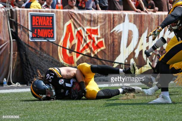 Anthony Chickillo of the Pittsburgh Steelers recovers the punt block for a touchdown in the first quarter against the Cleveland Browns at FirstEnergy...