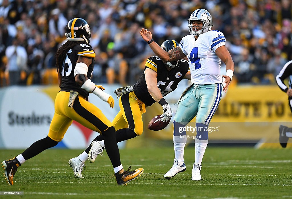 Anthony Chickillo #56 of the Pittsburgh Steelers strips the ball away from Dak Prescott #4 of the Dallas Cowboys for a fumble in the first quarter during the game at Heinz Field on November 13, 2016 in Pittsburgh, Pennsylvania.