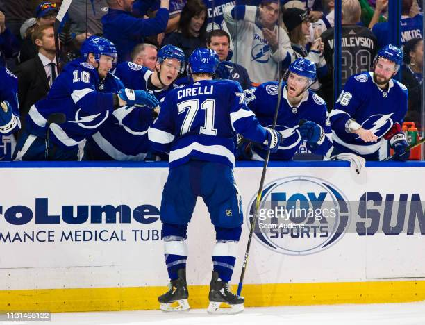 Anthony Cirelli celebrates after the Tampa Bay Lightning score against the Arizona Coyotes during the third period at Amalie Arena on March 18 2019...