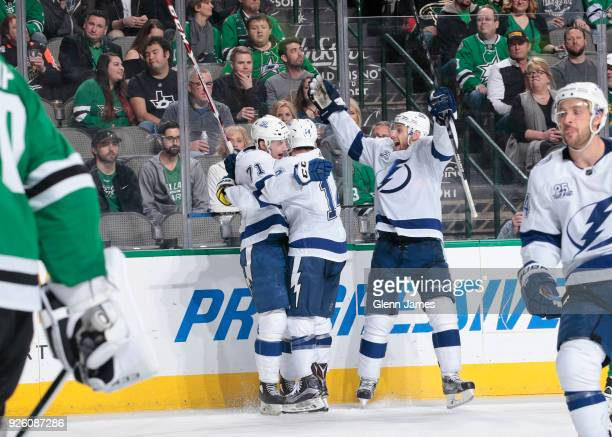 Anthony Cirelli Chris Kunitz and the Tampa Bay Lightning celebrate a goal against the Dallas Stars at the American Airlines Center on March 1 2018 in...