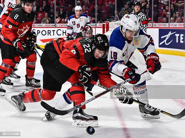 Anthony Cirelli of Team Canada and Colin White of Team United States skate after the puck during the 2017 IIHF World Junior Championship gold medal...