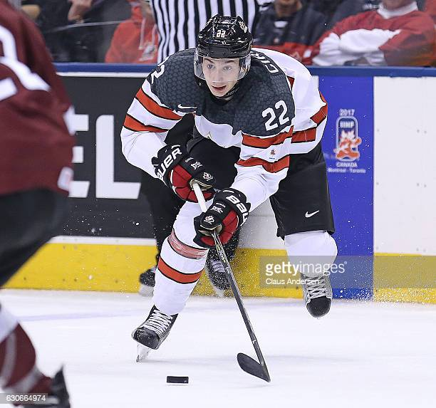 Anthony Cirelli of Team Canada breaks in for a shot against Team Latvia during a preliminary game in the 2017 IIHF World Junior Hockey Championships...