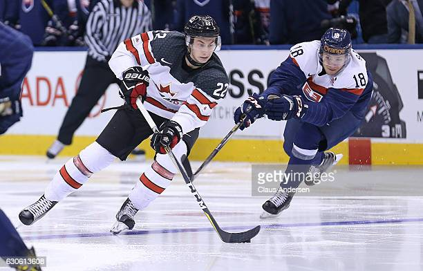 Anthony Cirelli of Team Canada skates against Boris Sadecky of Team Slovakia during a preliminary game in the 2017 IIHF World Junior Hockey...