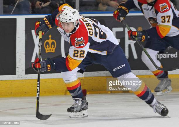 Anthony Cirelli of the Erie Otters skates against the London Knights during an OHL game at Budweiser Gardens on March 10 2017 in London Ontario...
