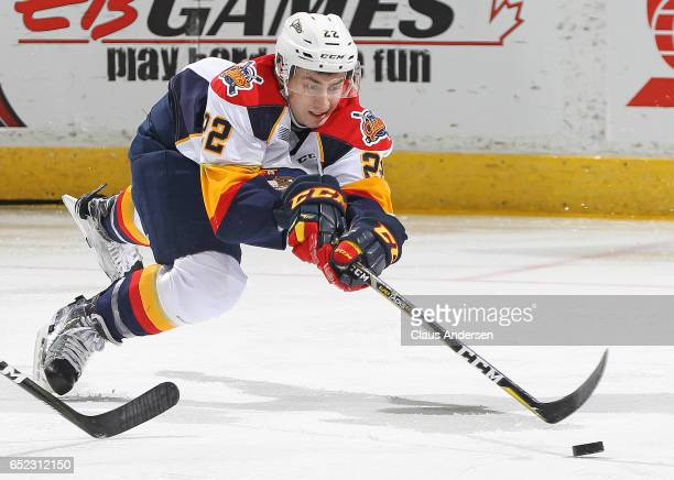 Anthony Cirelli of the Erie Otters snares a puck against the London Knights during an OHL game at Budweiser Gardens on March 10 2017 in London...