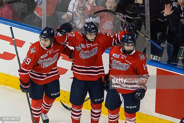 Anthony Cirelli of the Oshawa Generals celebrates his goal with teammates during the 2015 Memorial Cup Championship against the Kelowna Rockets at...