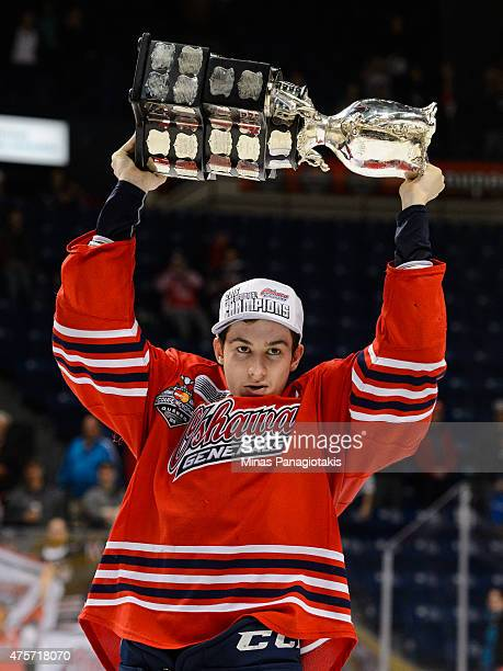 Anthony Cirelli of the Oshawa Generals hoists the Memorial Cup after defeating the Kelowna Rockets during the 2015 Memorial Cup Championship at the...