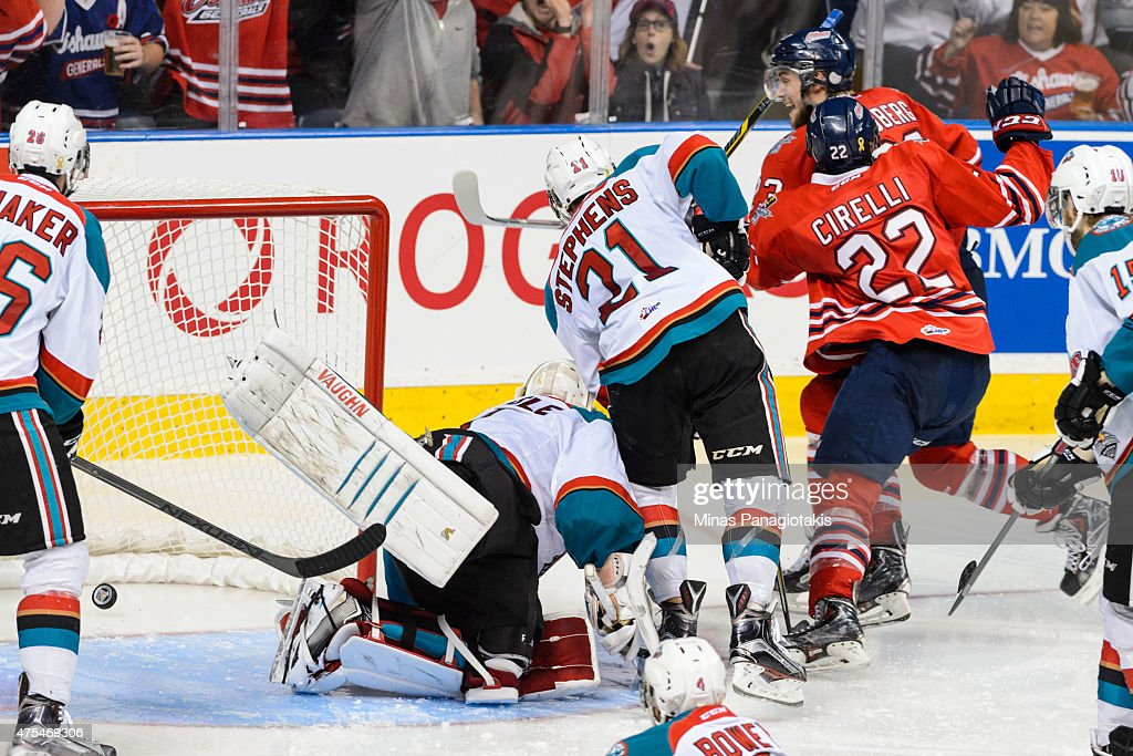 Anthony Cirelli #22 of the Oshawa Generals scores an overtime goal to help his team become the 2015 Memorial Cup Championships against the Kelowna Rockets at the Pepsi Coliseum on May 31, 2015 in Quebec City, Quebec, Canada. The Oshawa Generals defeated the Kelowna Rockets 2-1 in overtime and become the 2015 Memorial Cup Champions.