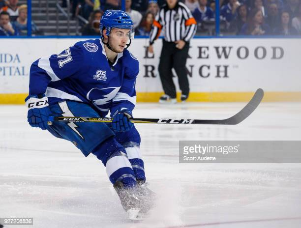 Anthony Cirelli of the Tampa Bay Lightning against the Philadelphia Flyers at Amalie Arena on March 3 2018 in Tampa Florida 'n