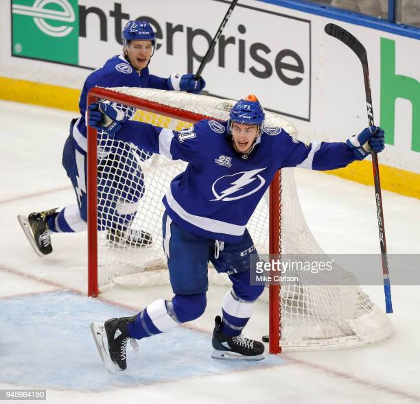 Anthony Cirelli of the Tampa Bay Lightning celebrates a goal against goalie Keith Kinkaid of the New Jersey Devils in Game One of the Eastern...