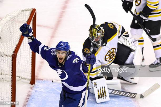 Anthony Cirelli of the Tampa Bay Lightning celebrates after scoring a goal past Jaroslav Halak of the Boston Bruins during the third period in Game...
